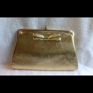 Vintage Gold Metallic Leather Bow Clutch Purse